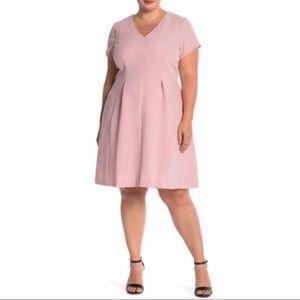 Eliza J Pink Fit & Flare Short Sleeve Mini Dress